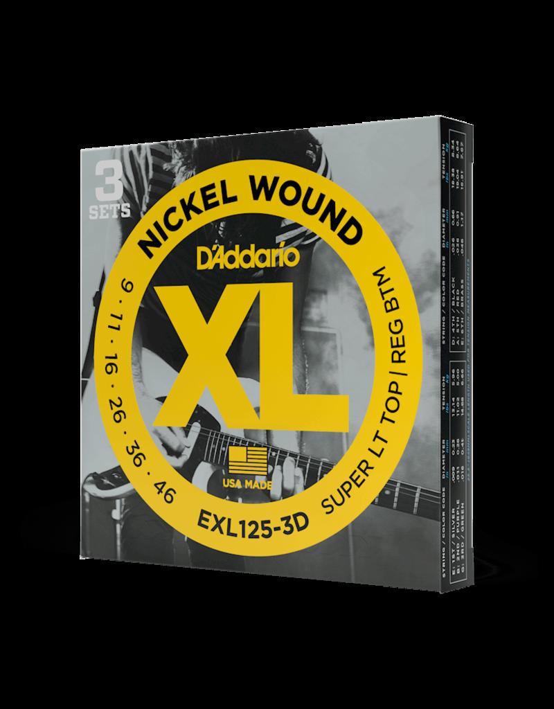 D'Addario D'Addario EXL125-3D Nickel Wound Electric Guitar Strings, Super Light Top/Regular Bottom, 9-42, 3 Sets