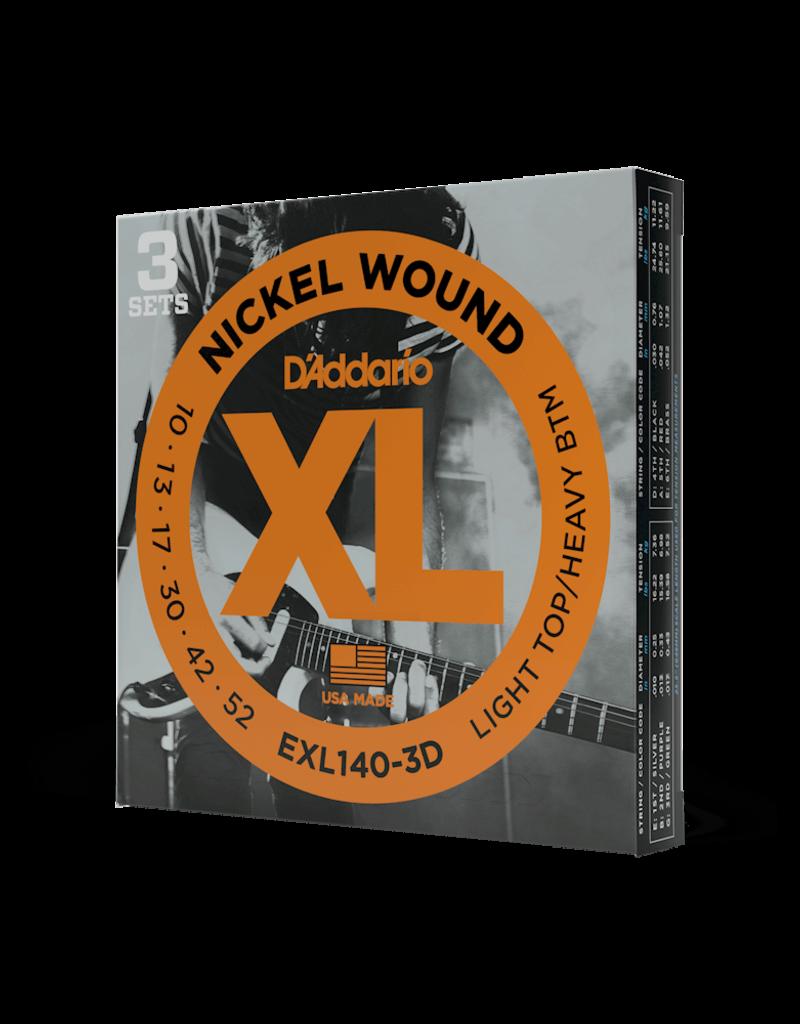 D'Addario D'Addario EXL140-3D Nickel Wound Electric Guitar Strings, Light Top/Heavy Bottom, 10-52, 3 sets