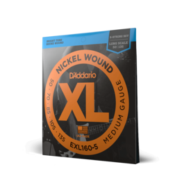 D'Addario D'Addario EXL160-5 5-String Nickel Wound Bass Guitar Strings, Medium, 50-135, Long Scale