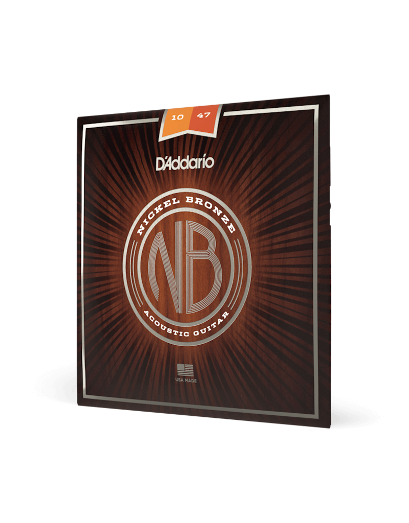 D'Addario D'Addario NB1047 Nickel Bronze Acoustic Guitar Strings, Extra Light, .10-.47