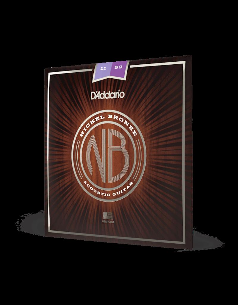 D'Addario D'Addario NB1152 Nickel Bronze Acoustic Guitar Strings, Custom Light, 11-52