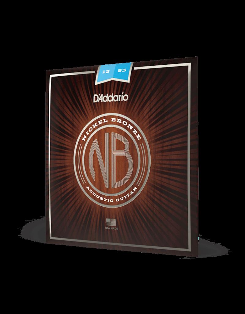 D'Addario D'Addario NB1253 Nickel Bronze Acoustic Guitar Strings, Light, 12-53
