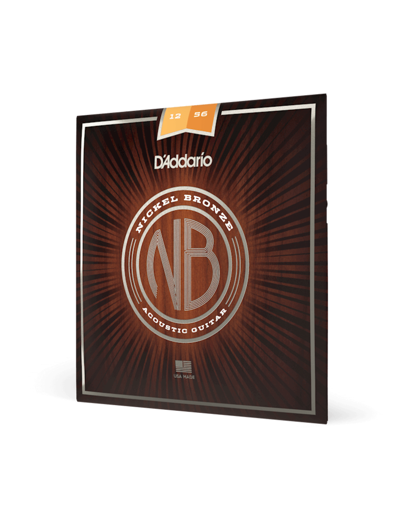 D'Addario D'Addario NB1256 Nickel Bronze Acoustic Guitar Strings, Light Top / Med Bottom, 12-56