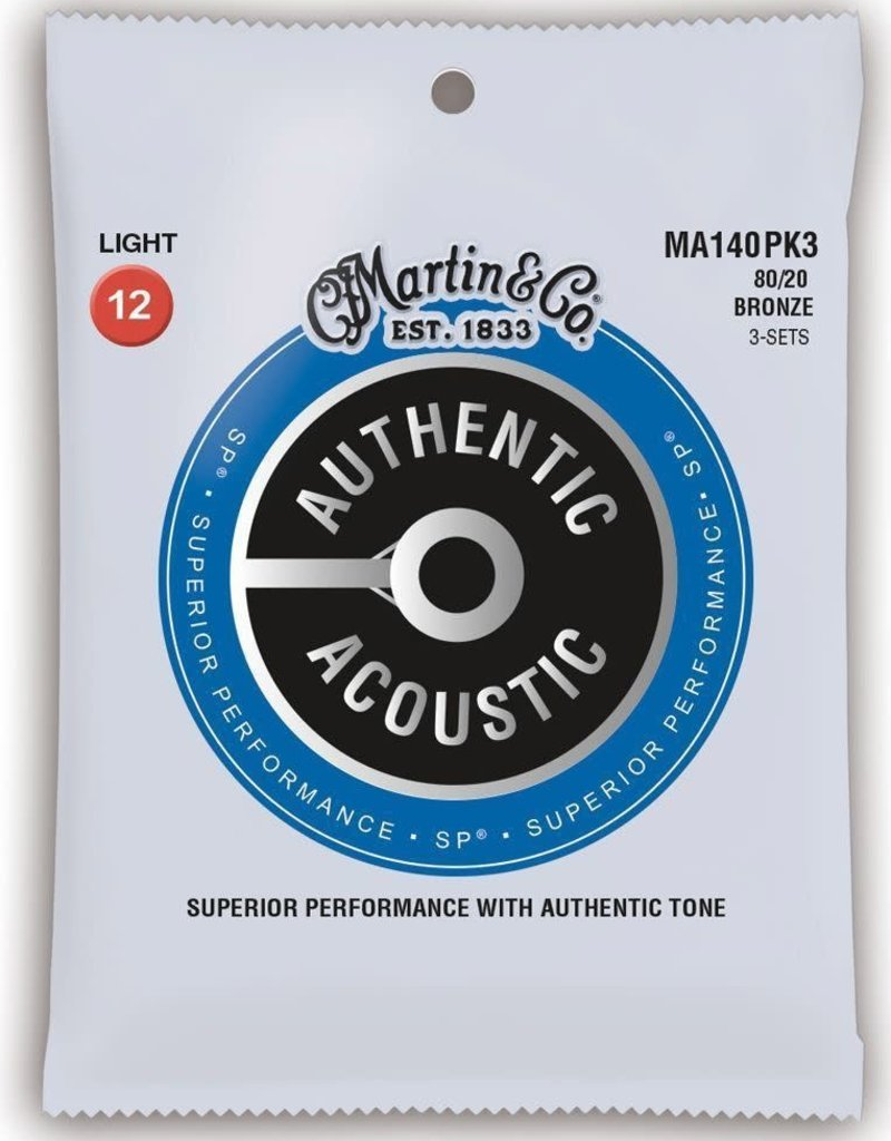 Martin Martin MA140PK3 80/20 Bronze Authentic Acoustic SP Guitar Strings .012–.054 3 Pack