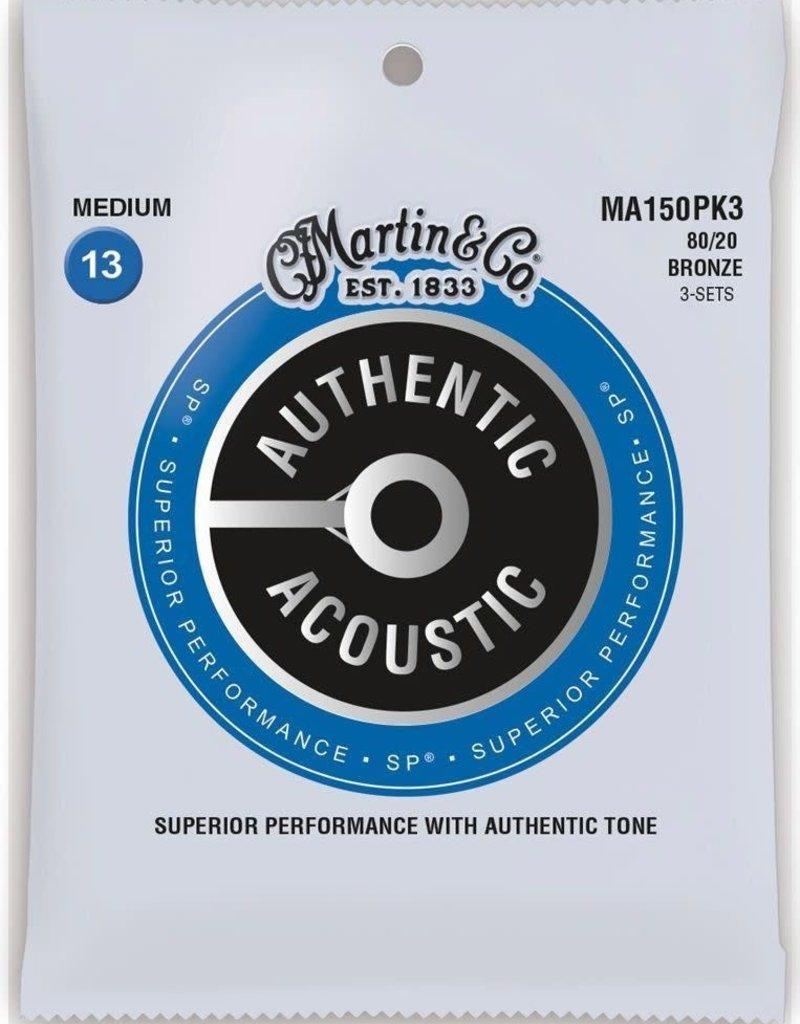 Martin Martin MA150PK3 Authentic Acoustic 80/20 Bronze Guitar Strings Medium Gauge .013 3 Pack