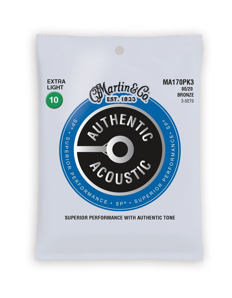 Martin Martin MA1703PK3 SP 80/20 Bronze Authentic Acoustic Guitar Strings Extra Light 3 Pack 10-47