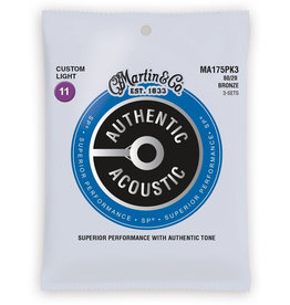 Martin Martin 3 Pack MA175PK3 SP 80/20 Bronze Authentic Acoustic Guitar Strings Custom Light 11-52