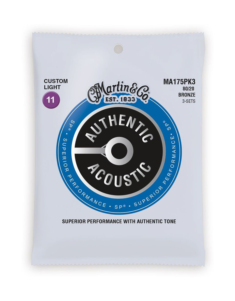 Martin Martin 3 Pack MA175PK3 SP 80/20 Bronze Authentic Acoustic Guitar Strings Custom Light 11-52
