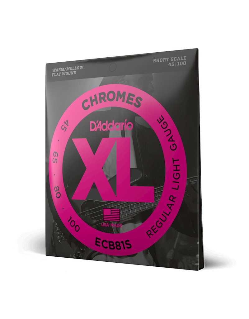 D'Addario D'addario ECB81S Chromes Short Scale Light Gauge Flatwound Electric Bass Strings .45-.100