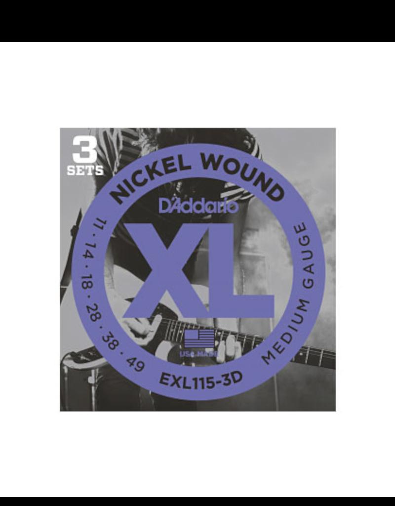 D'Addario D'Addario EXL115-3D Nickel Wound Electric Guitar Strings, 3 Sets, Medium/Blues-Jazz Rock, 11-49, 3 Sets