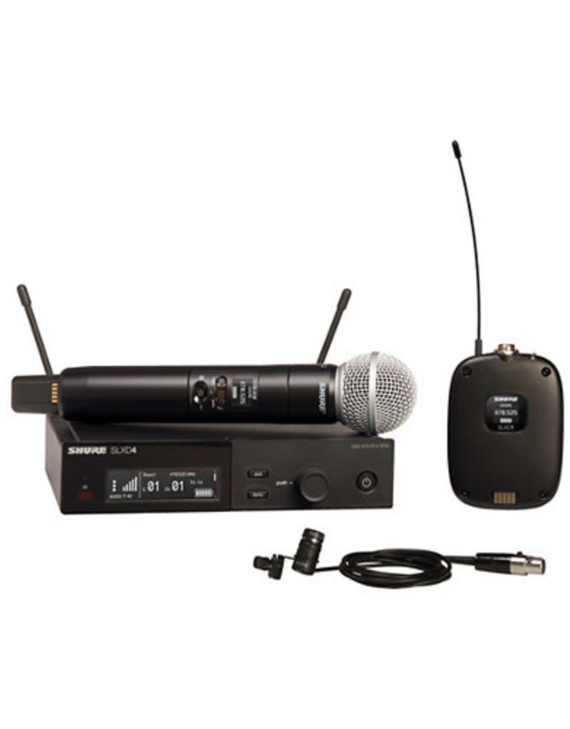 Shure Shure SLXD124/85 Combo System with SLXD1 Bodypack, SLXD4 Receiver, SM58 and WL185 Lavalier Microphone  Band J52