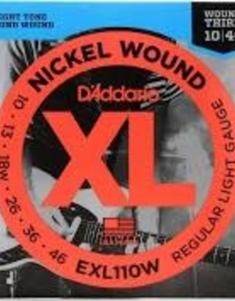 D'Addario D'addario EXL110W Nickel Regular Light Wound 3rd Electric Guitar Strings