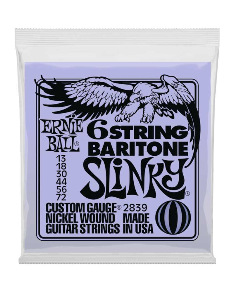 Ernie Ball Ernie Ball 2839 SLINKY 6-STRING W/ SMALL BALL END 29 5/8 SCALE BARITONE GUITAR STRINGS - 13-72 GAUGE