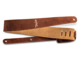 """Taylor Taylor 2.5"""" Embroidered Suede Guitar Strap Chocolate Brown"""