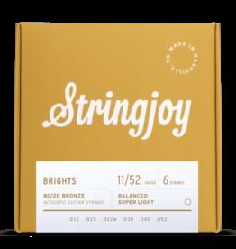 Stringjoy Stringjoy Brights | Super Light Gauge (11-52) 80/20 Bronze Acoustic Guitar Strings