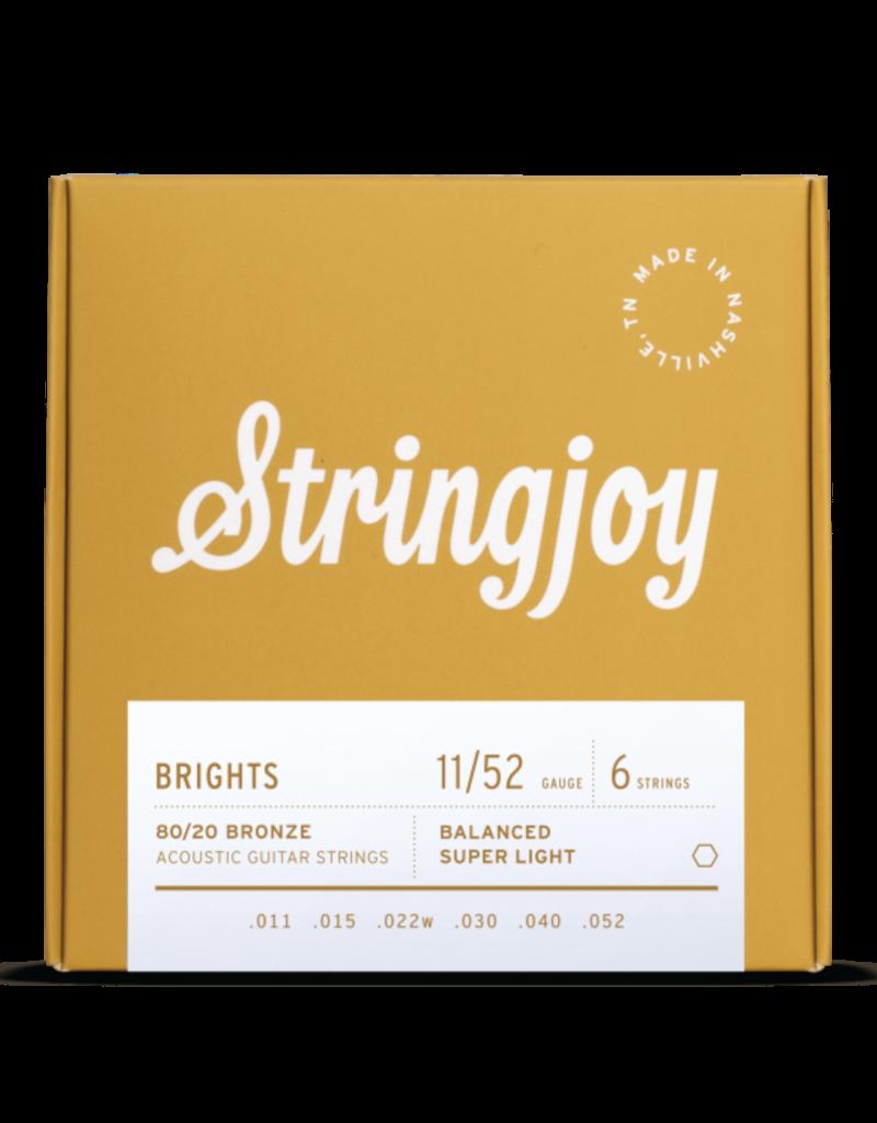 Stringjoy Stringjoy Brights   Super Light Gauge (11-52) 80/20 Bronze Acoustic Guitar Strings