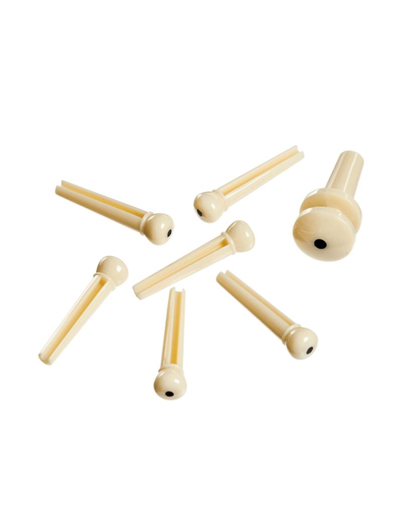 D'Addario D'Addario PLASTIC BRIDGE PINS Ivory with Ebony Dot