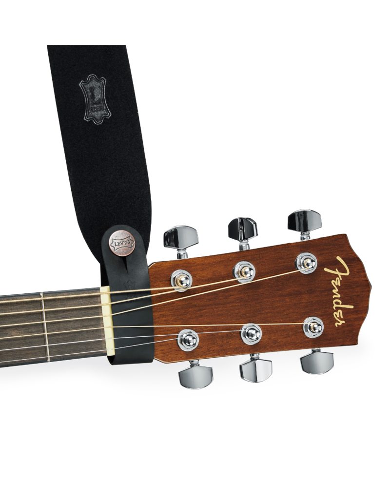 Levy's Leathers Levy's MM18CHBLK Black Leather Headstock Strap Adapter Acoustic Guitars