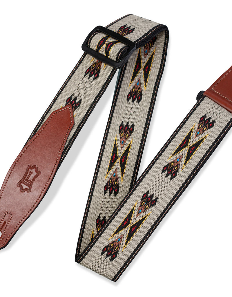 Levy's Leathers Levy's MSSN80TAN - 2 in. Polypropylene/Jacquard Weave Guitar Strap with Leather Ends