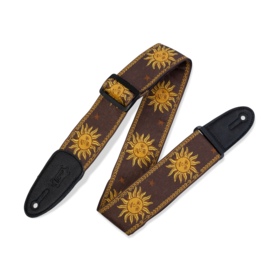 Levy's Leathers Levy's Sun Design Jacquard Weave guitar strap brown