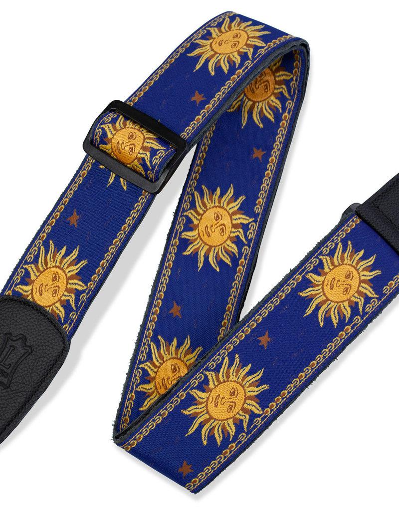 Levy's Leathers Levy's Sun Design Jacquard Weave guitar strap blue