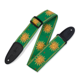 Levy's Leathers Levy's Sun Design Jacquard Weave guitar strap green