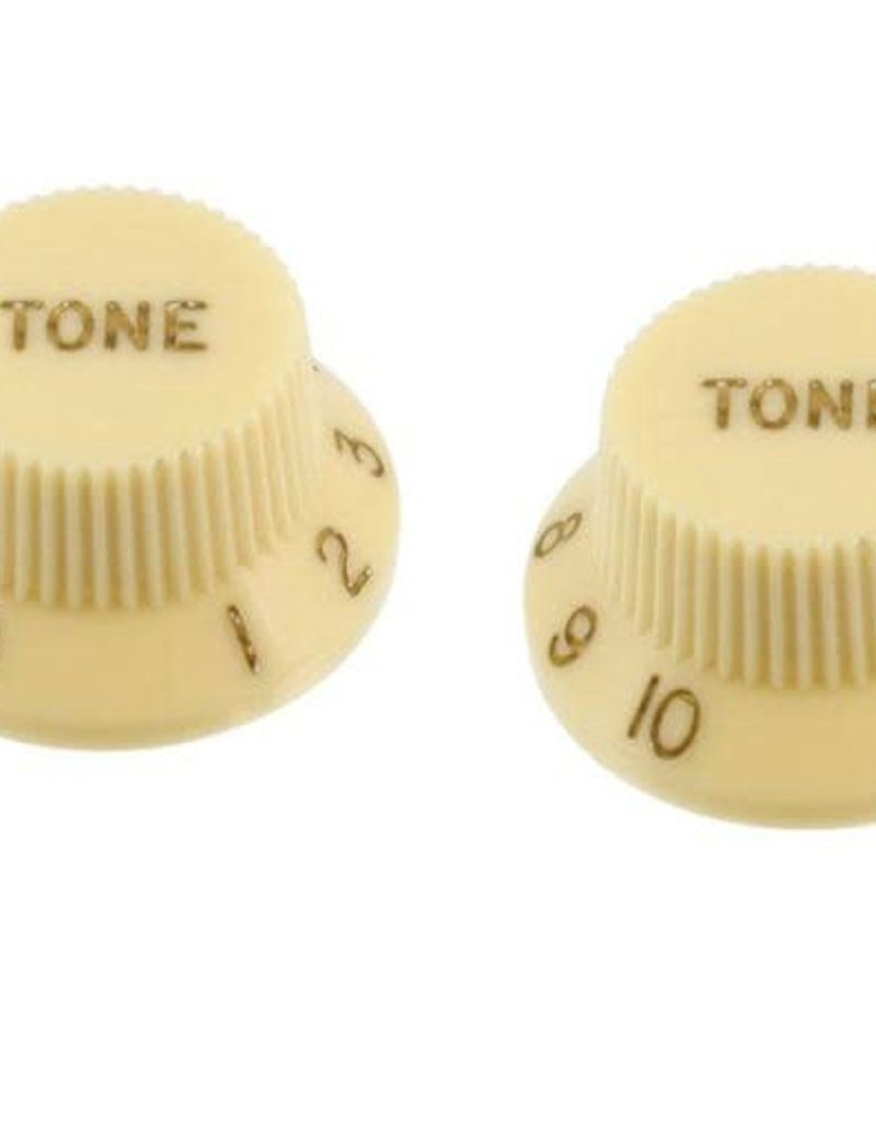 Allparts Allparts PK-0153 SET OF 2 PLASTIC TONE KNOBS FOR STRATOCASTER, Vintage Cream