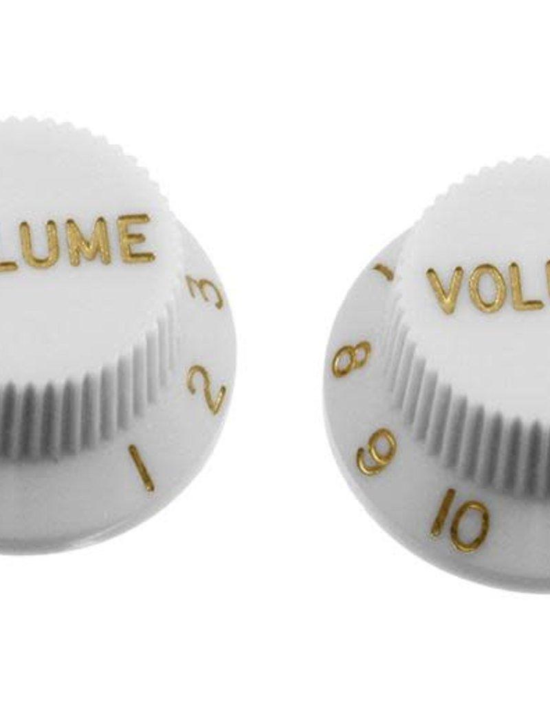 Allparts Allparts PK-0154 SET OF 2 PLASTIC VOLUME KNOBS FOR STRATOCASTER, White