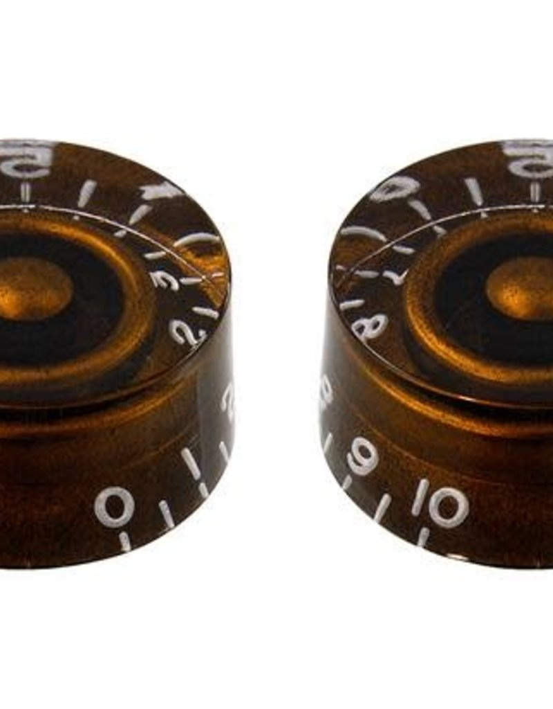 Allparts Allparts PK-0130 SET OF 2 VINTAGE-STYLE SPEED KNOBS, Chocolate Brown