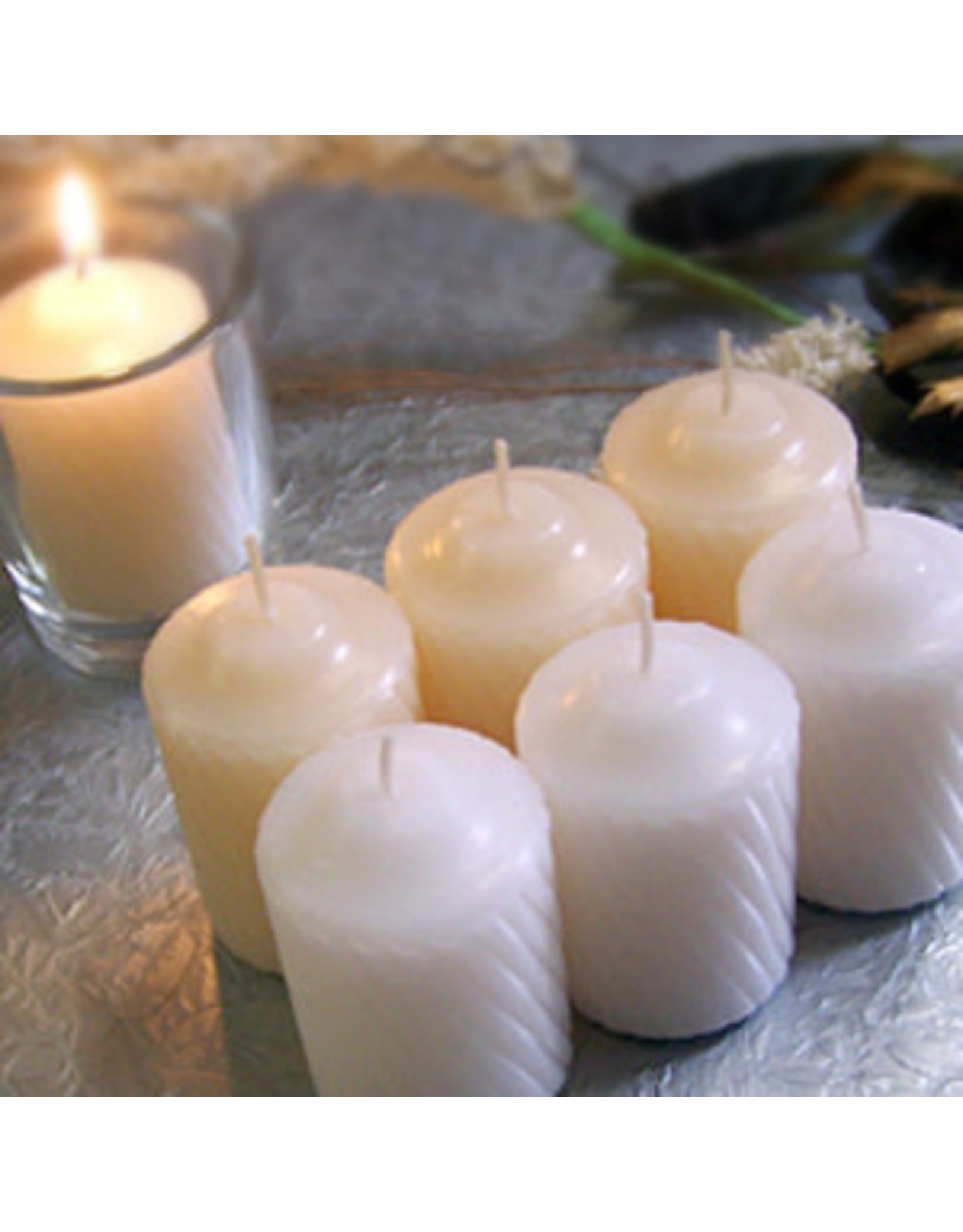 White 15-Hour Unsented Votive Candles (20/box)