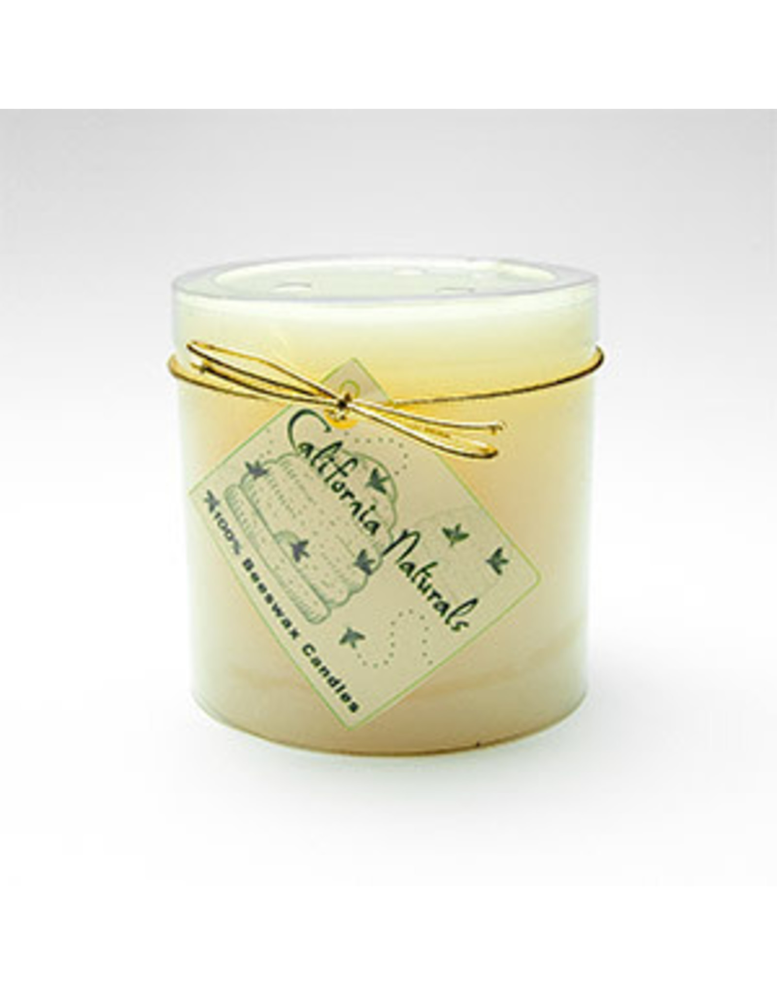 """Beeswax """"column"""" candle with glass votive 3""""x 3"""""""