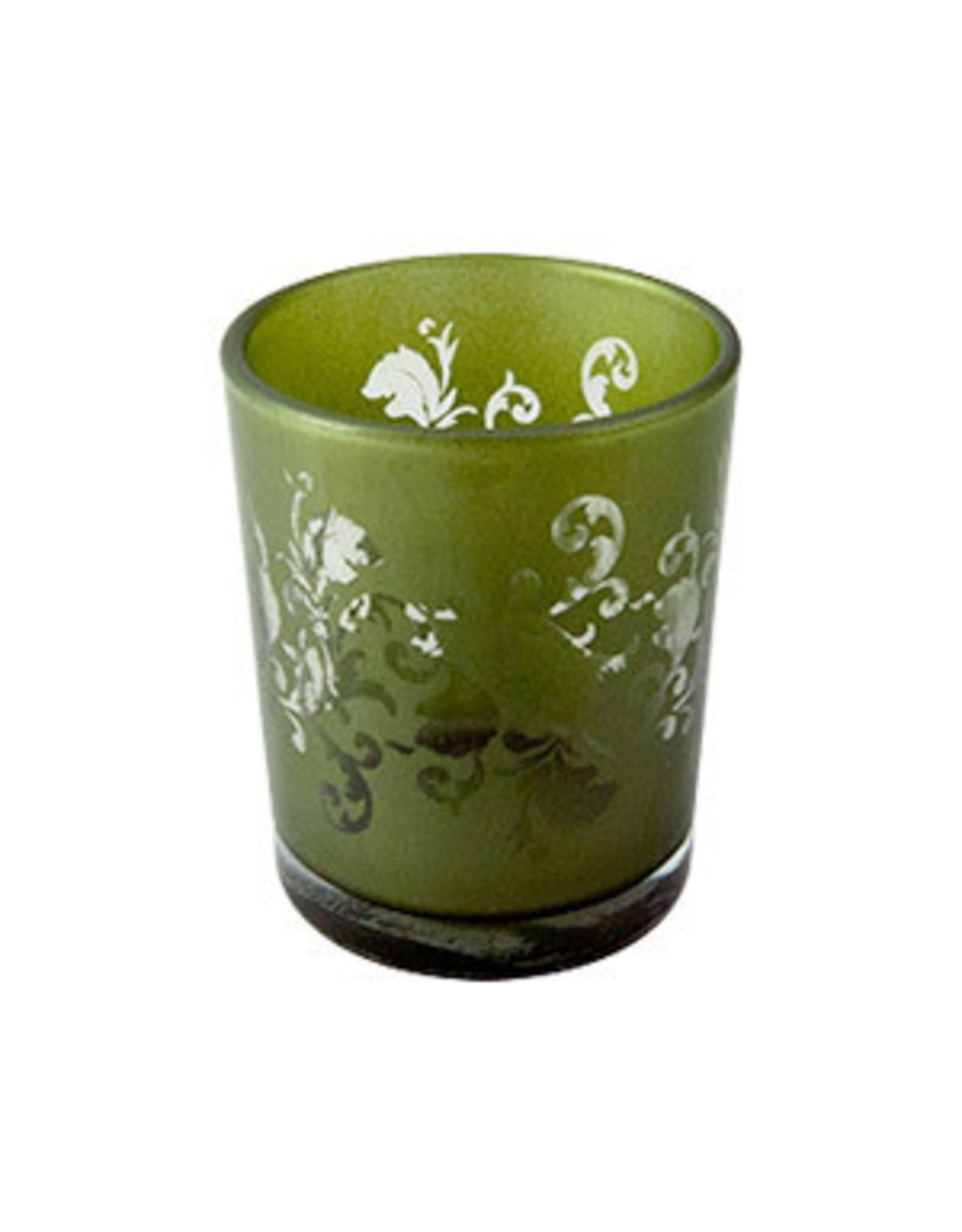 Green Ornate Glass Votive Candle Holder