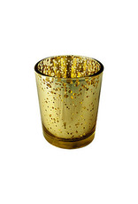 Rustic Gold Glass Votive Candle Holder