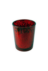 Rustic Red Glass Votive Candle Holder
