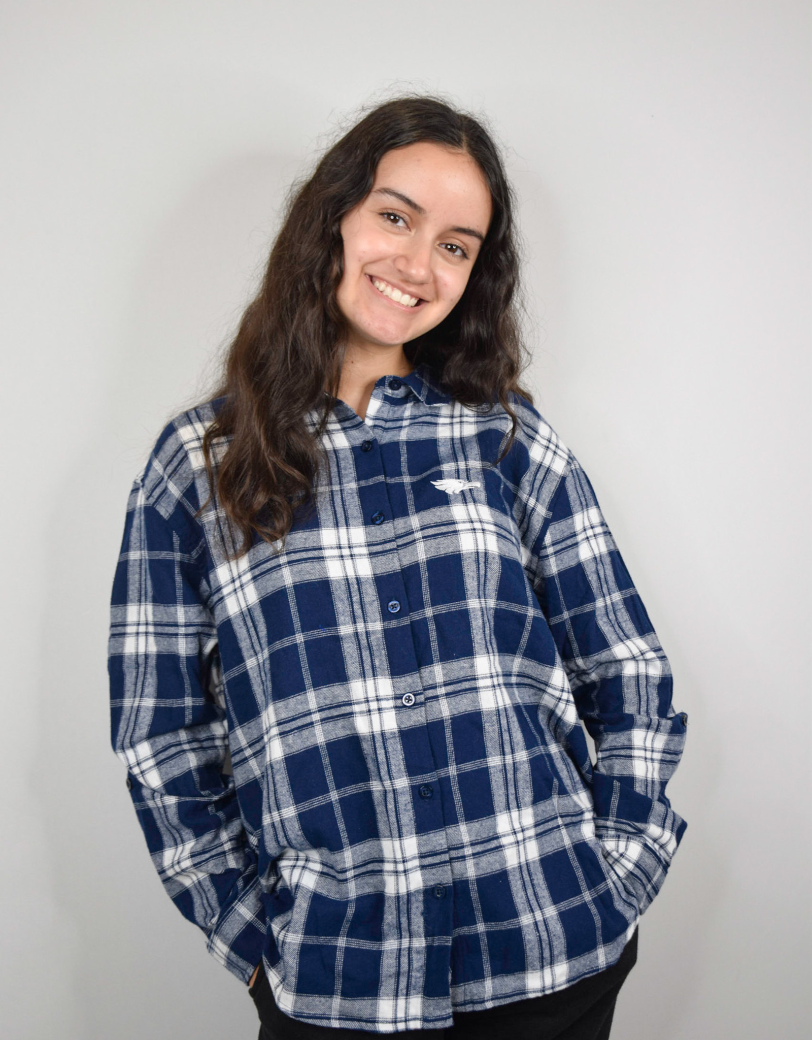 Chicka-D Plaid Button up Navy