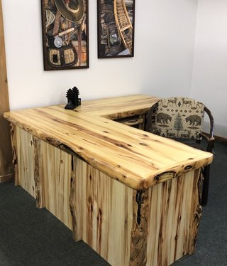 Rustic log Aspen L-Shape Desk