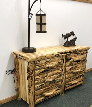 "Rustic log Gnarly 60"" 6 Drawer Dresser"