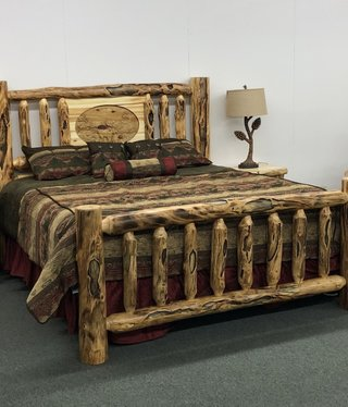 Rustic log Gnarly King Bed W/Carving