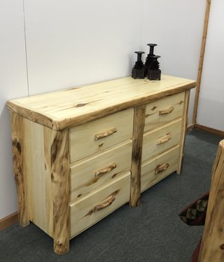 "Rustic log Plain 60"" 6 Drawer Dresser"