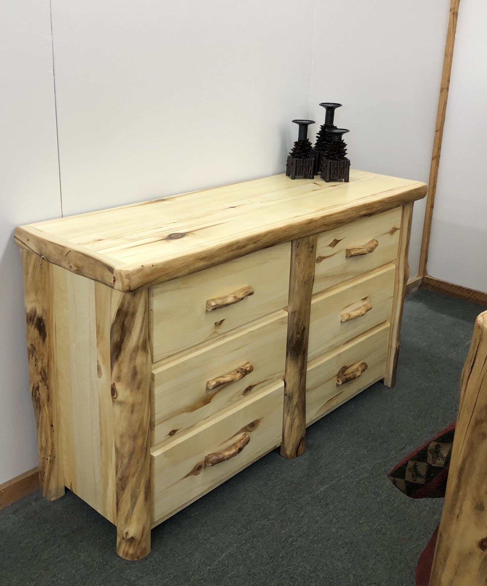 "Rustic log Plain 60"" 6 Drawer Dresser"