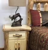 Rustic log Plain Nightstand 1 Drawer & 2 Doors