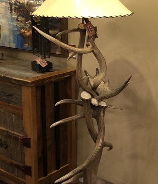 Fish Elk Floor Lamp W/Moose Antler Shelf