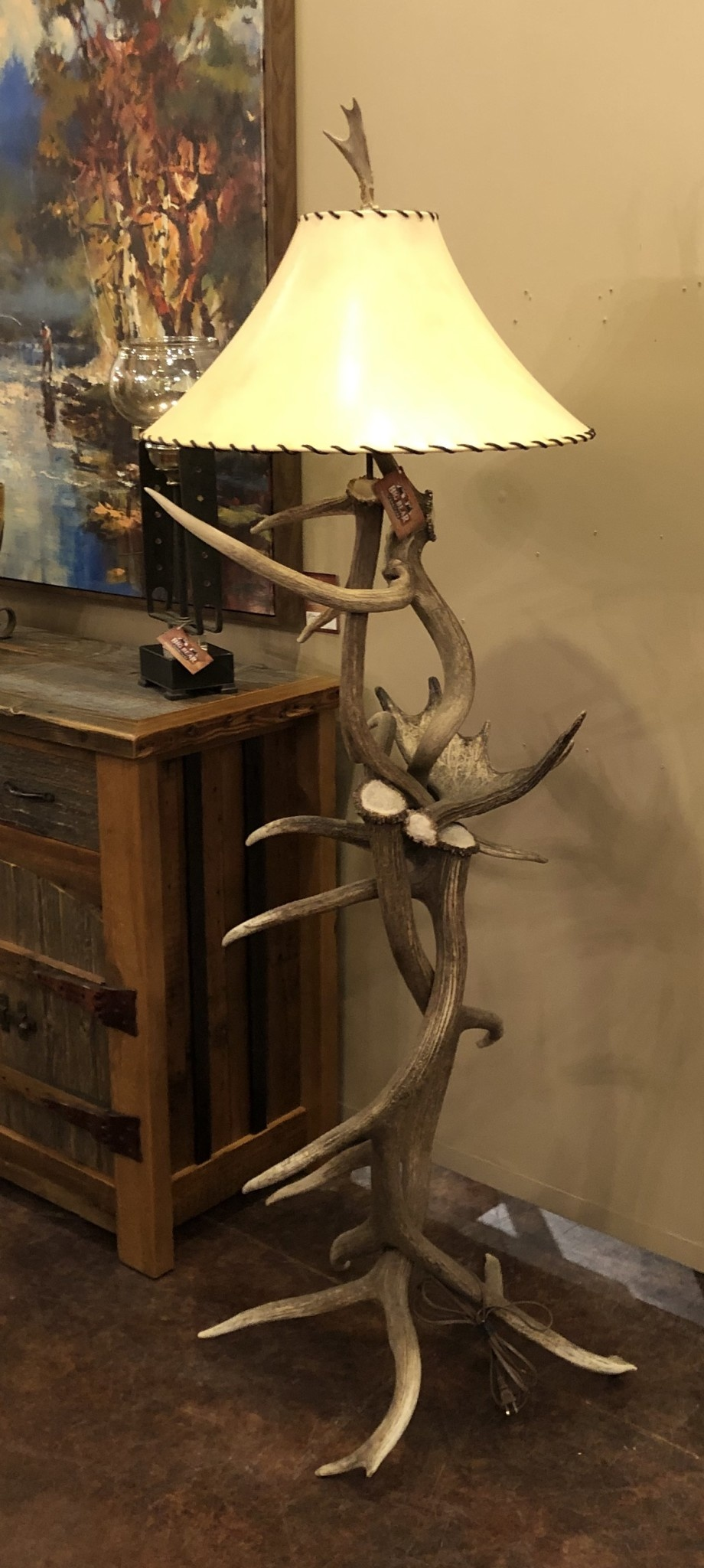 Elk Floor Lamp W Moose Antler Shelf