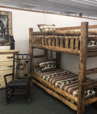 Rustic log Aspen Twin/Twin Bunk Bed