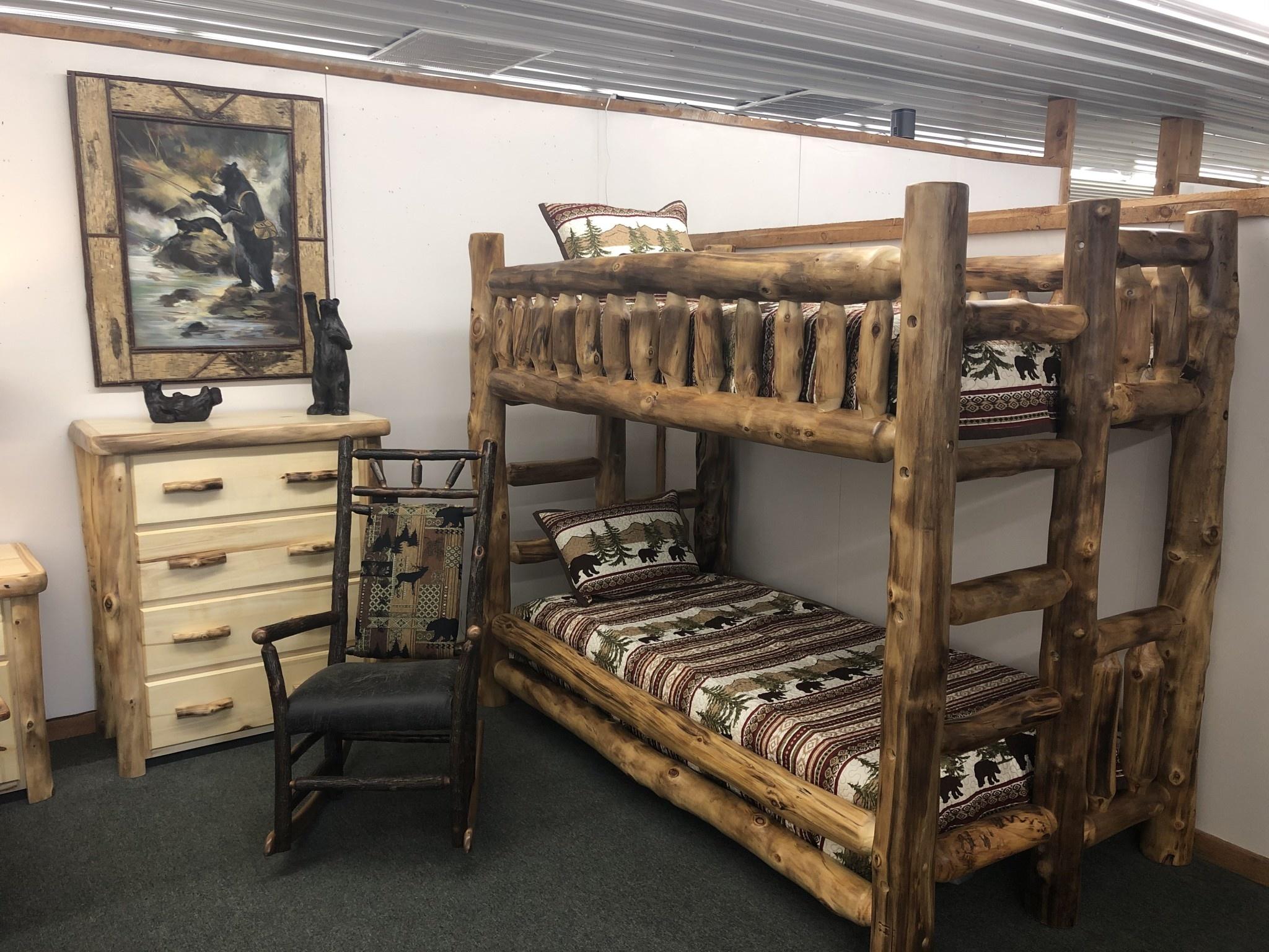 Rustic log Aspen Twin/Twin Bunk Bed