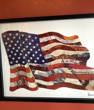 Simpkins-Canterbury Lane Collage 3D Art- US Flag