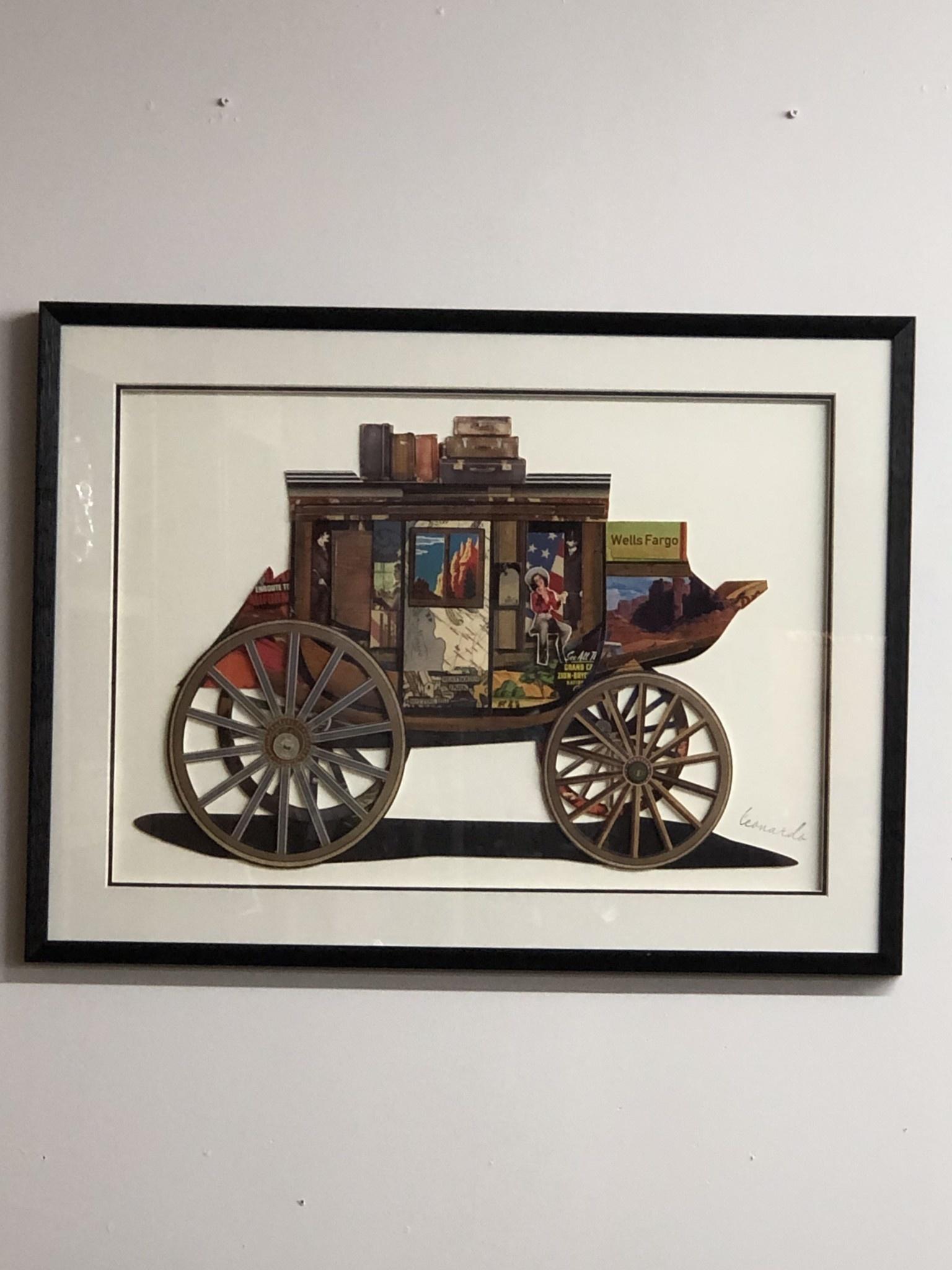 Simpkins-Canterbury Lane Collage 3D Art - Vintage Stage Coach