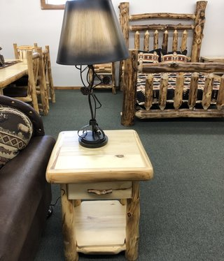 Rustic log Plain End Table W/Drawer