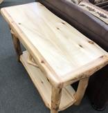 Rustic log Plain Sofa Table W/Drawer