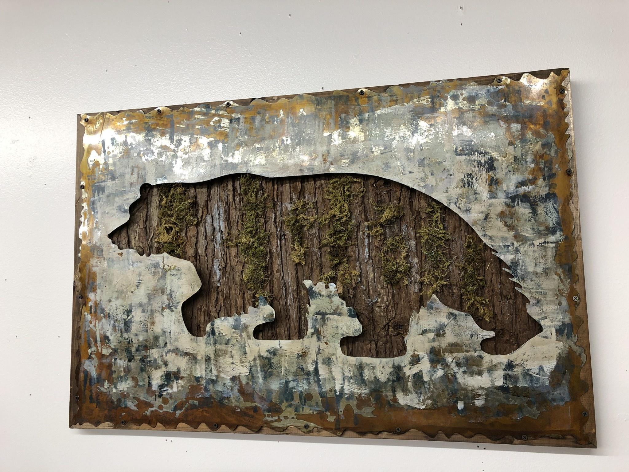 Simpkins-Canterbury Lane Bear with Moss Wall Decor